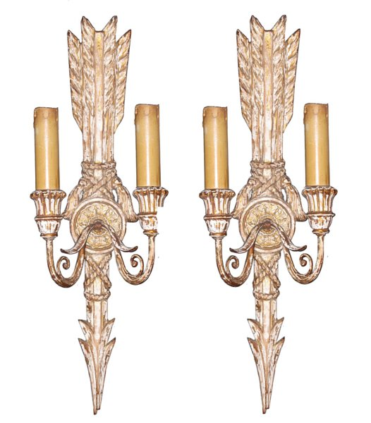 # 4511 Pair of Gilt Wall Sconces (wired)