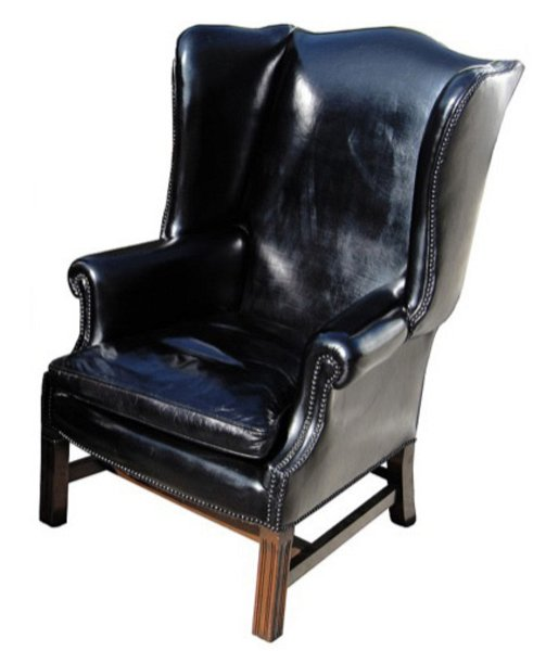 # 4064 Pair of Black Leather Wingback Chairs