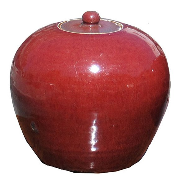 # 3999 Red Ginger Jar with Lid (2 available)
