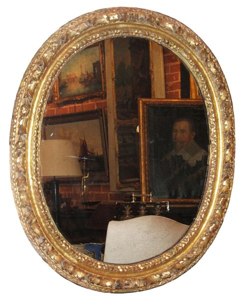 # 4433 Oval Carved Gilt Mirror