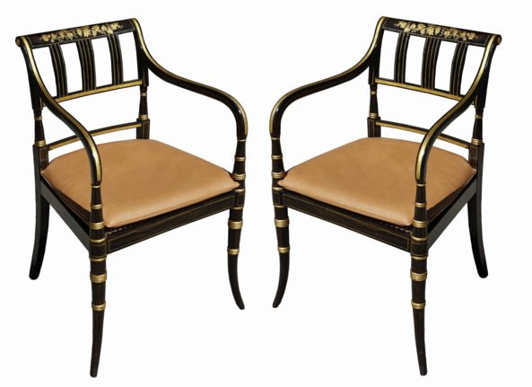 # 5294 Pair of Black Lacquer Armchairs