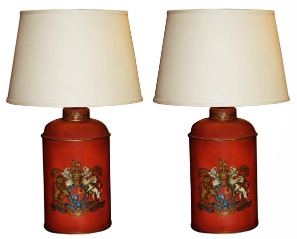 # 5391 Pair of Tole Lamps